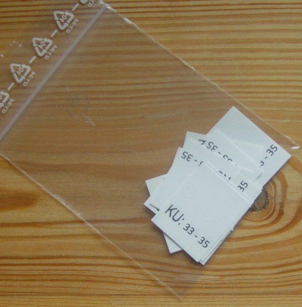 KU: 33 - 35 Kopfumfang-etiketten