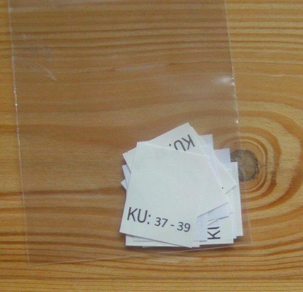 KU: 37 - 39 Kopfumfang-etiketten