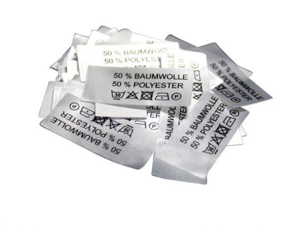 50 Textiletiketten 50% Baumwolle 50% Polyester
