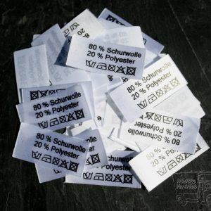 50 Textiletiketten 80% Schurwolle 20% Polyester