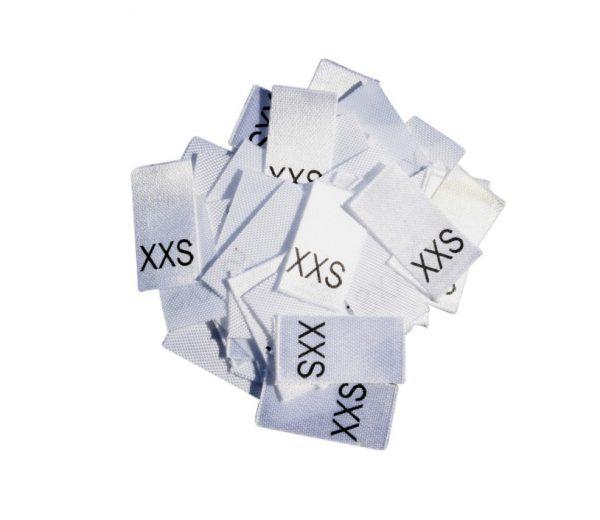 25 Textiletiketten Größe XXS