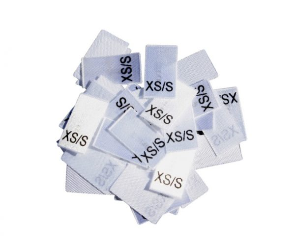 25 Textiletiketten Größe XS/S