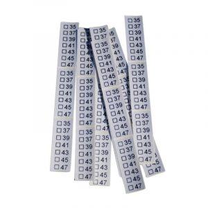 25 selbstklebende Textiletiketten Universal 35-47