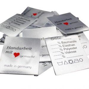 25 Textiletiketten Universal - Handarbeit mit Herz
