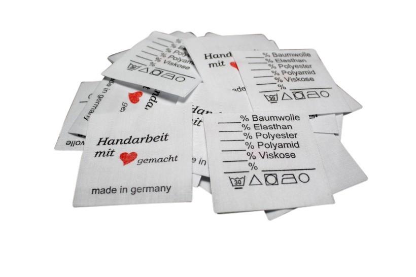 Textiletiketten Universal - Handarbeit mit Herz gemacht