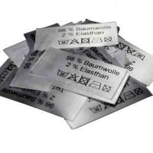 50 Textiletiketten 98% Baumwolle 2% Elasthan - nicht chemisch reinigen -