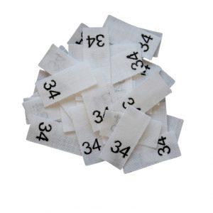 size label 25 Textiletiketten - Größe 34 auf Mischband