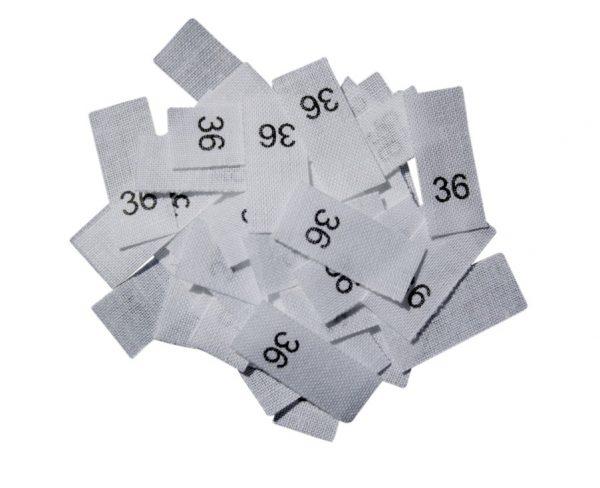 size label 25 Textiletiketten - Größe 36 auf Mischband