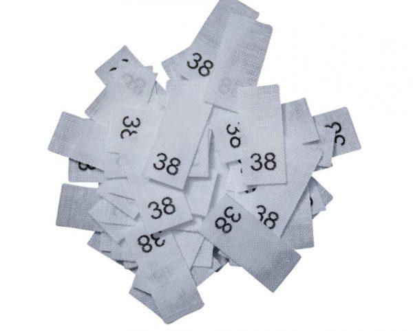 size label 25 Textiletiketten - Größe 38 auf Mischband