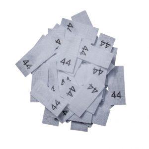 size label 25 Textiletiketten - Größe 44 auf Mischband