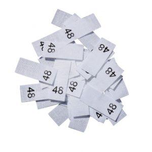 size label 25 Textiletiketten - Größe 48 auf Mischband