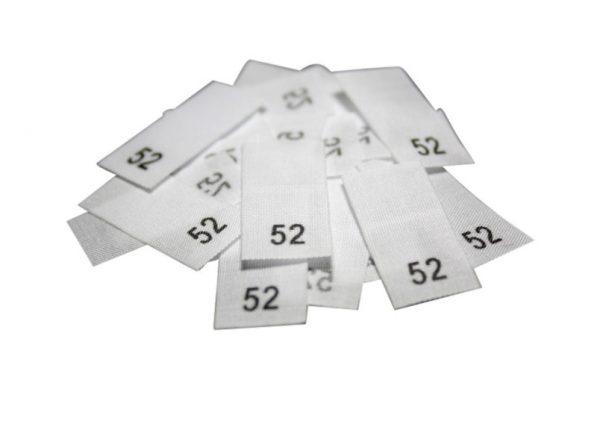 size label 25 Textiletiketten - Größe 52 auf Mischband