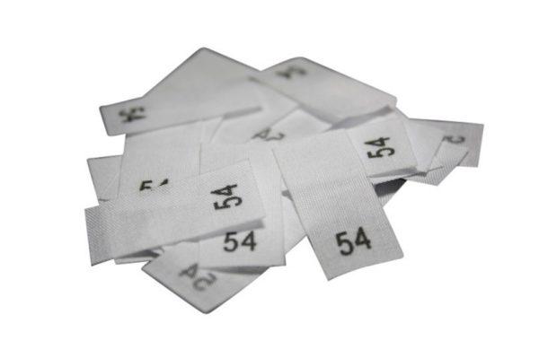 size label 25 Textiletiketten - Größe 54 auf Mischband