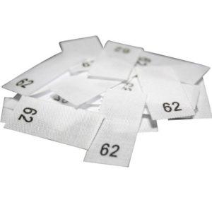 size label 25 Textiletiketten - Größe 62 auf Mischband