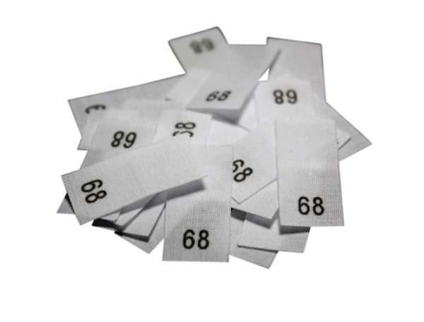 size label 25 Textiletiketten - Größe 68 auf Mischband