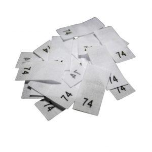 size label 25 Textiletiketten - Größe 74 auf Mischband