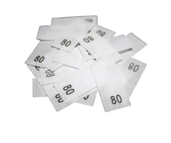 size label 25 Textiletiketten - Größe 80 auf Mischband