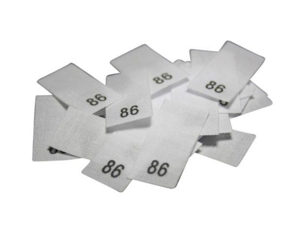 size label 25 Textiletiketten - Größe 86 auf Mischband