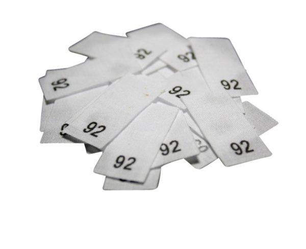 size label 25 Textiletiketten - Größe 92 auf Mischband
