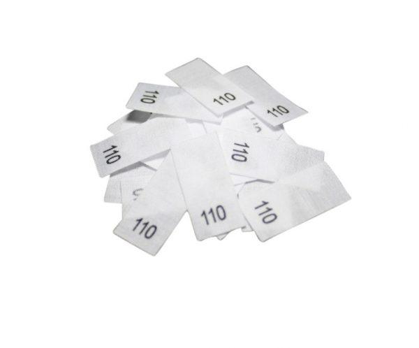 size label 25 Textiletiketten - Größe 110 auf Mischband