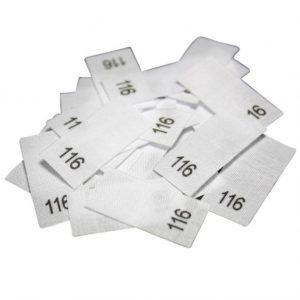 25 Textiletiketten - Größe 116 auf Mischband