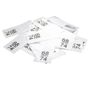 25 Textiletiketten - Größe 68/74 auf Mischband