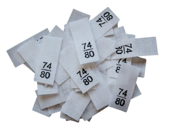 25 Textiletiketten - Größe 74/80 auf Mischband