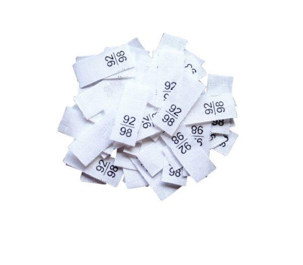 25 Textiletiketten - Größe 92/98 auf Mischband