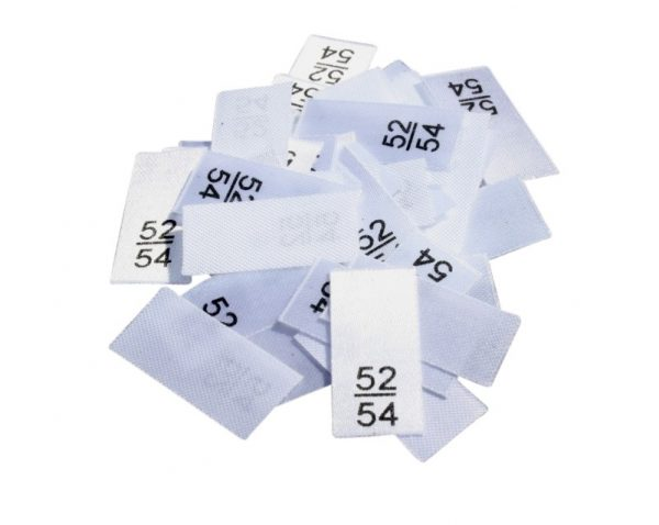 25 Textiletiketten - Größe 52/54