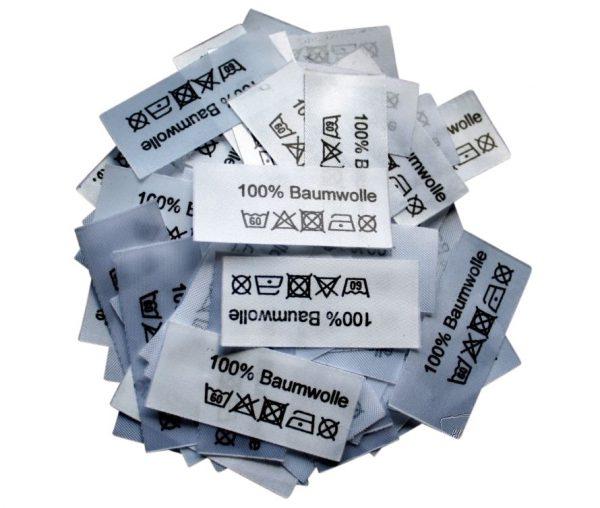 50 Textiletiketten 100% Baumwolle 60°C