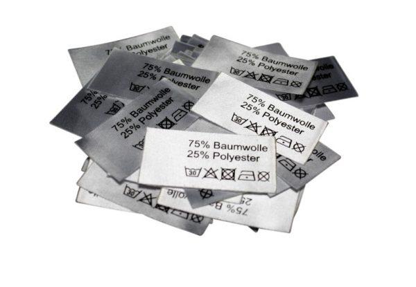 50 Textiletiketten 75% Baumwolle 25% Polyester