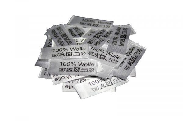 50 Textiletiketten 100% Wolle