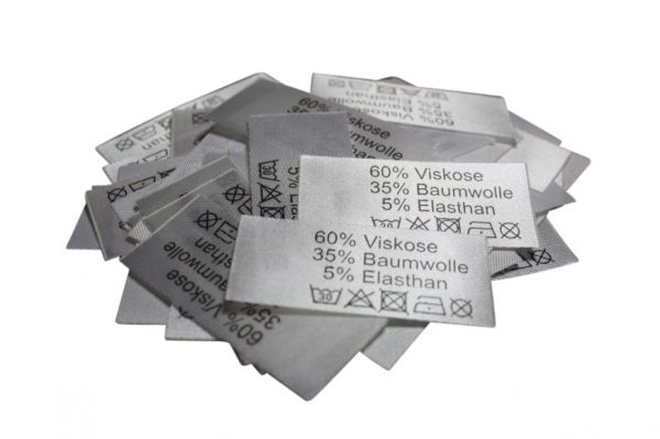 50 Textiletiketten 60% Viskose 35% Baumwolle 5% Elasthan