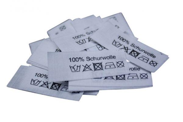 50 Textiletiketten 100% Schurwolle