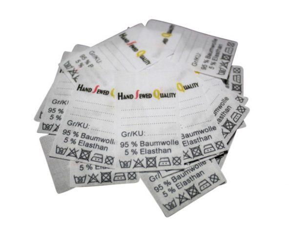 "25 Textiletiketten Universal Hand Sewed Quality"""""