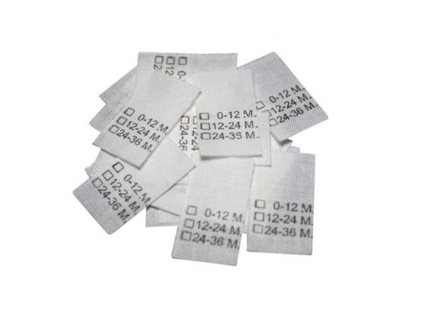 25 Textiletiketten Kindergrößen in Monatsangabe