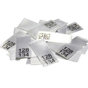 25 Textiletiketten - Größe 128/134
