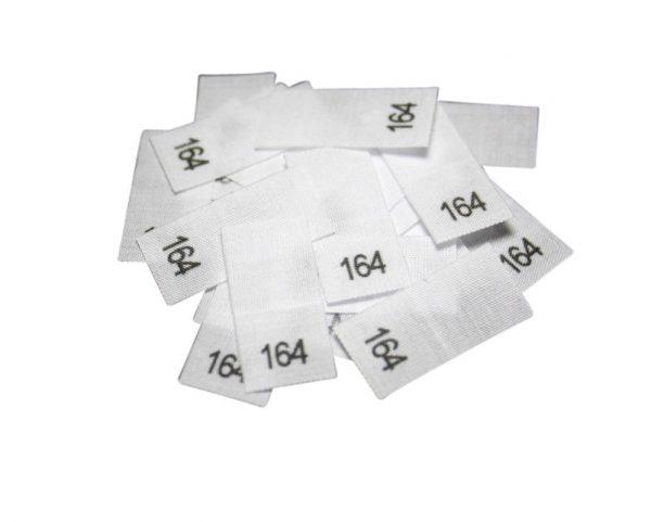 25 Textiletiketten - Größe 164 auf Mischband