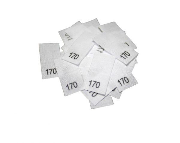 25 Textiletiketten - Größe 170 auf Mischband