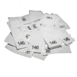 25 Textiletiketten - Größe 146 auf Mischband