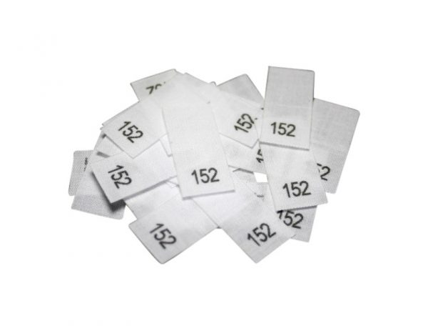 size label 25 Textiletiketten - Größe 152 auf Mischband