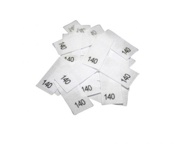 size label 25 Textiletiketten - Größe 140 auf Mischband