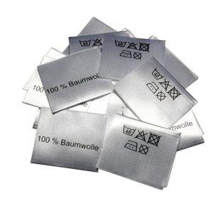 25 Textiletiketten 100% Baumwolle - gefaltet