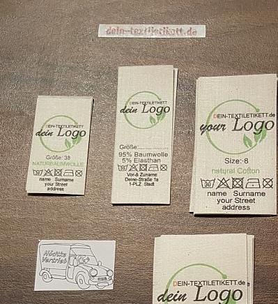 baumwoll-etiketten mit eigenem logo