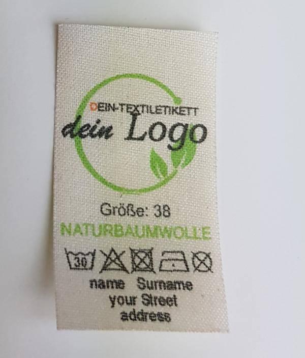 Textiletiketten selber gestalten mit Logo, wir helfen Ihnen dabei.